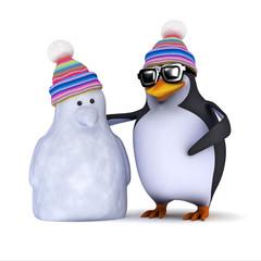 3d Penguin and his snowman pal
