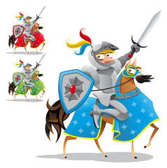 Knight and horse. Vector characters, objects isolated