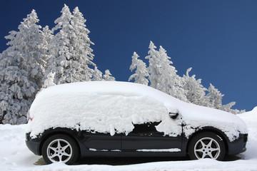 Eingeschneites Auto in Winterlandschaft