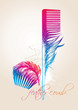Colorful combs in the form of the bird's feathers