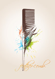 Fototapety Comb in the form of the bird's feather on the beige background