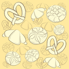 Background Vector illustration of bakeries of products