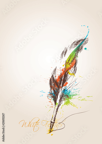 Pen in the form of the bird's feather on the beige background