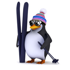 3d Penguin with his skis