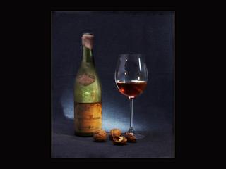 Rotwein Flasche und Glas