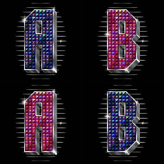 Vector volume letters A,B with shiny rhinestones