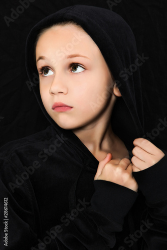 Worried Girl in Black