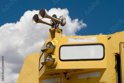 Closeup of Diesel Train Locomotive Airhorn Blank Sign