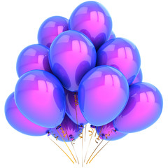 Helium balloons colored blue and purple. Party decoration