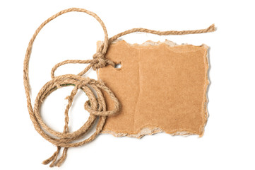 Piece of cardboard and rope with space for your text