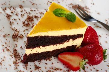 A piece of lucuma (South American fruit) cake