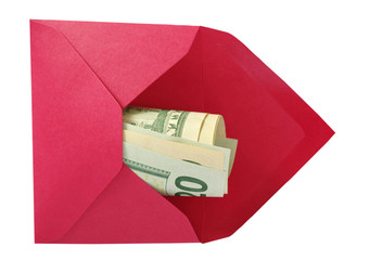 Dollars in the red envelope.