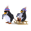 3d Penguins playing with their sledge