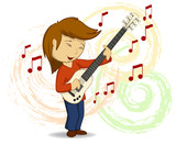 Vector cartoon guitar player with background
