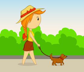 Vector cartoon girl with dog