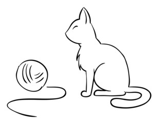 Vector cat with clew wool ball