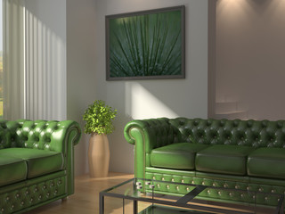 Classic clean interior with green leather sofas.