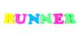 runner written in fridge magnets on white background