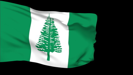 Norfolk Island flag slowly waving. Alpha included.