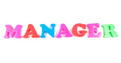 manager written in fridge magnets on white background