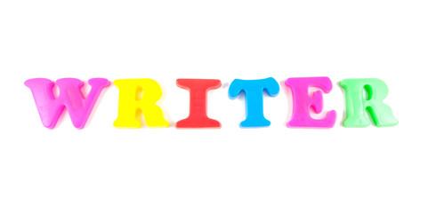 writer written in fridge magnets on white background