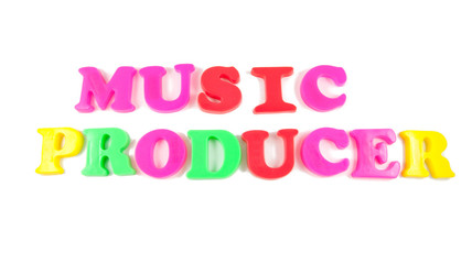 music producer written in fridge magnets on white background