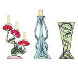 Two Candlesticks and Vase in Modernist Style poster