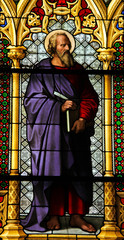 Luke the Evangelist. Stained Glass in Dom of Cologne