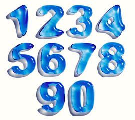 цифры из капель воды. 3д рендер