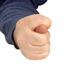 man's hand gesture shows fig.
