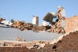 demolition of smoldering rubble poster