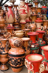 Beautiful handmade clay pots in a roadside shop in Bangladesh