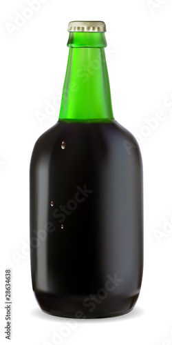 Green bottle of dark beer