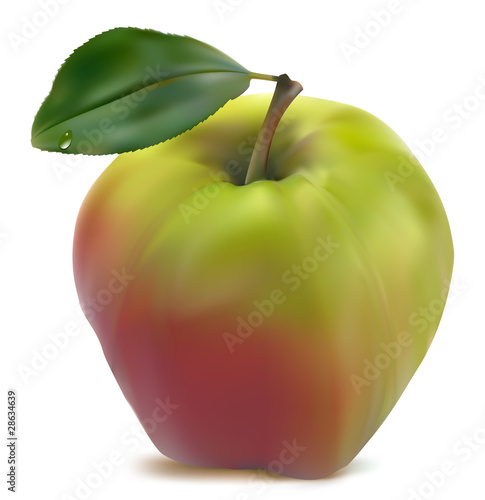 fresh green-red  apple