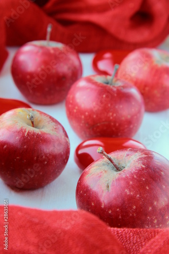Red ripe organic apples symbol of love and passion