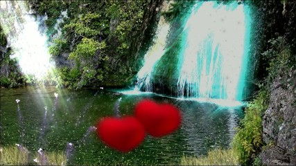 Blue enchanted lake, hearts.