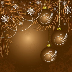 Merry Christmas and Happy New Year brown vector background