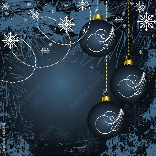 Merry Christmas and Happy New Year blue vector background