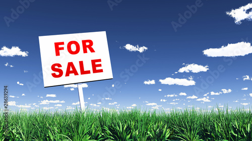 Schild im Gras - For Sale