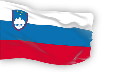 Slovenia flag slowly waving. White background. Seamless loop.
