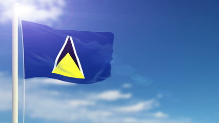 Saint Lucia flag waving. Sky background. Seamless loop.