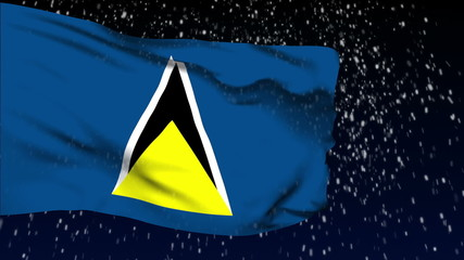 Saint Lucia flag waving. White snow background. Seamless loop.