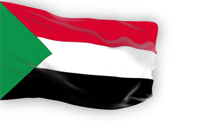 Sudan flag slowly waving. White background. Seamless loop.