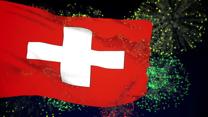 Switzerland flag waving. Fireworks background. Seamless loop.