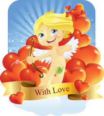 Cupid with love vector illustration