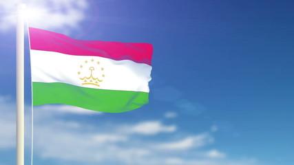 Tajikistan flag waving. Sky background. Seamless loop.