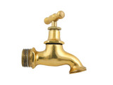 Old gold faucet isolated on white