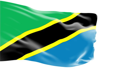 Tanzania flag slowly waving. White background. Seamless loop.
