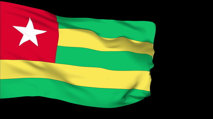 Togo flag slowly waving. Alpha included. Seamless loop.