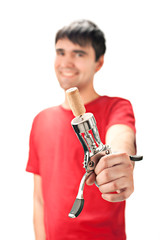 A smiling man in red t-shirt with cork screw. SDOF